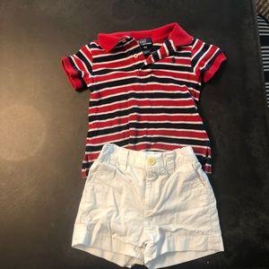 Polo white shorts & red white & blue polo both 9M